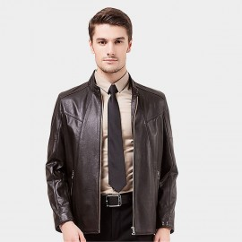 Beverry Modern Topstitch Brown Leather Jacket (14BA008Q)