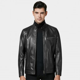 Beverry Sleek Zippered Cuff Black Leather Jacket (14BAD1405)