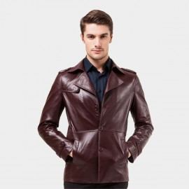 Beverry Modern Cinched Waist Wine Leather Jacket (14BAQ1515)