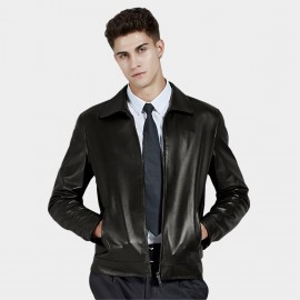 Beverry Simple Slash Black Leather Jacket (14BAQ8705)