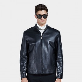 Beverry Bottom Topstitching Black Leather Jacket (14BAQ8706)
