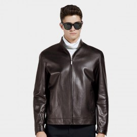Beverry Bottom Topstitching Coffee Leather Jacket (14BAQ8706)