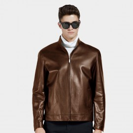 Beverry Bottom Topstitching Brown Leather Jacket (14BAQ8706)
