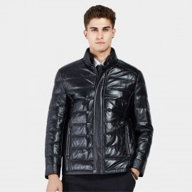 Beverry Stand Up Quilted Black Leather Jacket (14BBD1322)