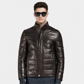 Beverry Stand Up Quilted Coffee Leather Jacket (14BBD1322)