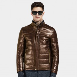 Beverry Stand Up Quilted Brown Leather Jacket (14BBD1322)