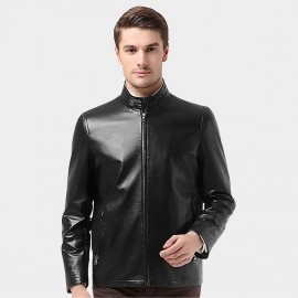 Beverry Snap Button Neck Black Leather Jacket (14BFQ1320)