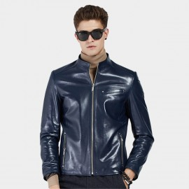 Beverry Shiny Star Blue Leather Jacket (15BAQ1326)