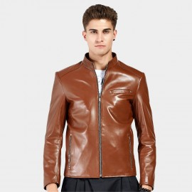 Beverry Shiny Star Brown Leather Jacket (15BAQ1326)