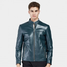 Beverry Shiny Star Cyan Leather Jacket (15BAQ1326)