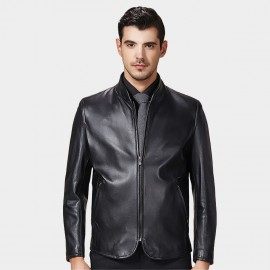 Beverry Curved Front Zipper Black Leather Jacket (15BAQ1331)