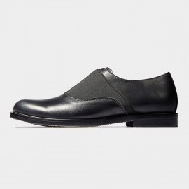Herilios Elastic Throat Leather Black Loafers (H6305D65)