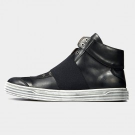 Herilios Elastic Hug Leather Black Sneakers (H6305G87)