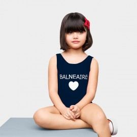 Balneaire Plunge Back Logo Navy One Piece (260025)