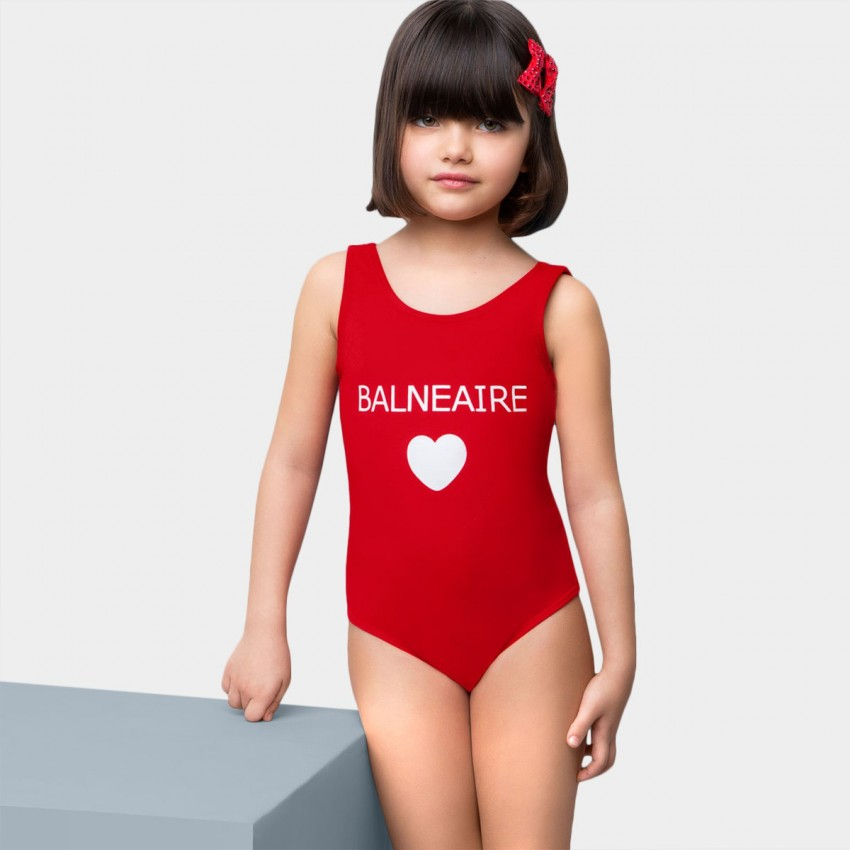Balneaire Plunge Back Logo Red One Piece (260025)