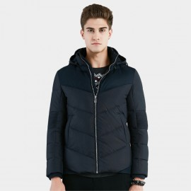 Beverry Ribbed Elbow Navy Down Jacket (16AFQ036)