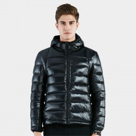 Beverry Contrastive Texture Black Down Jacket (16AFQ056)
