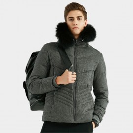 Beverry Irregular Quilted Grey Down Jacket (16AFQ059)