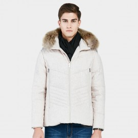 Beverry Irregular Quilted Ivory Down Jacket (16AFQ059)