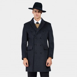 Beverry Bold Button Double Breasted Charcoal Coat (16AFQ1721)