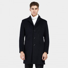 Beverry Tiny Notched Collar Black Coat (16AFQ1723)