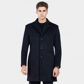 Beverry Tiny Notched Collar Navy Coat (16AFQ1723)