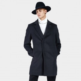 Beverry Classic Concealed Button Navy Coat (16AFQ1725)
