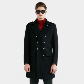 Beverry High Metallic Button Black Coat (16AFQ1809)