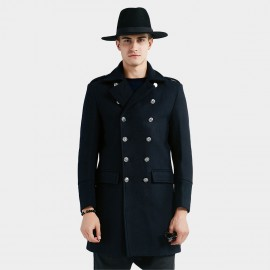 Beverry High Metallic Button Navy Coat (16AFQ1809)