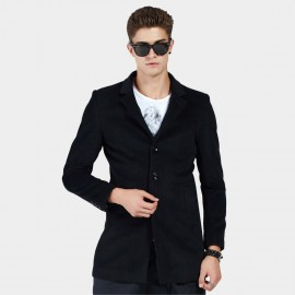 Beverry V Front Notched Collar Black Coat (16AFQ8608)