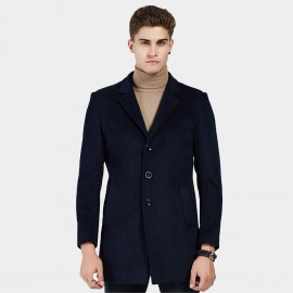 Beverry V Front Notched Collar Navy Coat (16AFQ8608)