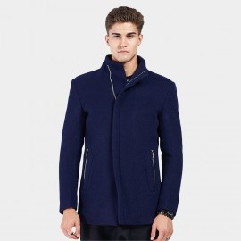 Beverry Hidden Metallic High Neck Blue Coat (16AFQ8609)