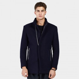 Beverry Hidden Metallic High Neck Navy Coat (16AFQ8609)