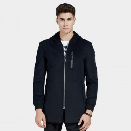 Beverry Side Hem Button Hip Seam Navy Coat (16AFQ8611)