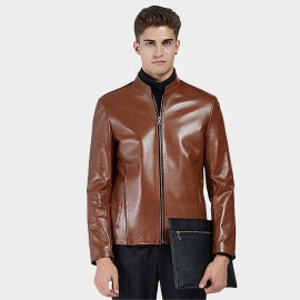 Beverry Plain Rock Brown Leather Jacket (16BAQ124)