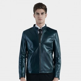 Beverry Piping Shoulder Cyan Leather Jacket (16BAQ126)