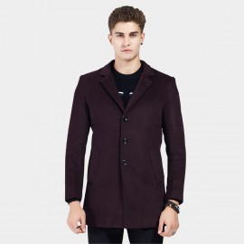 Beverry V Front Notched Collar Wine Coat (16AFQ8608)