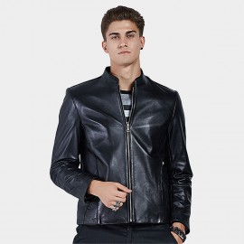 Beverry Plain Rock Black Leather Jacket (16BAQ124)