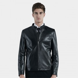 Beverry Piping Shoulder Black Leather Jacket (16BAQ126)