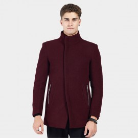 Beverry Hidden Metallic High Neck Wine Coat (16AFQ8609)