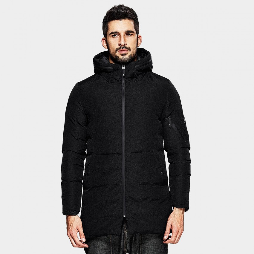 Kuegou Modern Zippered Hood Black Down Jacket (XW-21608)