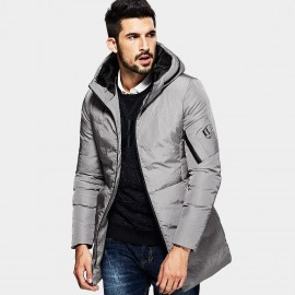 Kuegou Modern Zippered Hood Grey Down Jacket (XW-21608)