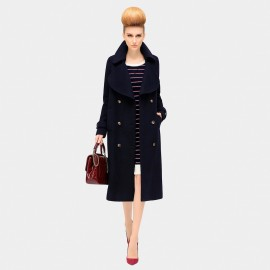 Cocobella Retro Button Navy Coat (CT507)