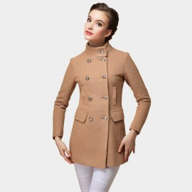 SSXR Crew Collar Double Button Down Hip Length Camel Coat (4101)