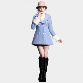 SSXR Pedal Lapel Button Down Bell Shaped Blue Coat (4110)