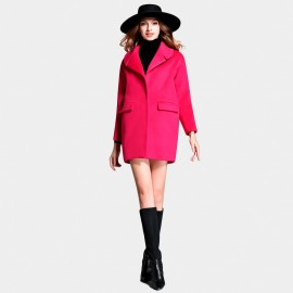 SSXR Cut Lapel Invisible Button Thigh Length Rose Coat (4327)