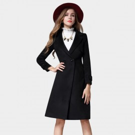 SSXR Button Deco Square Lapel Knee Length Black Coat (4337)