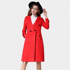 SSXR Button Deco Square Lapel Knee Length Red Coat (4337)