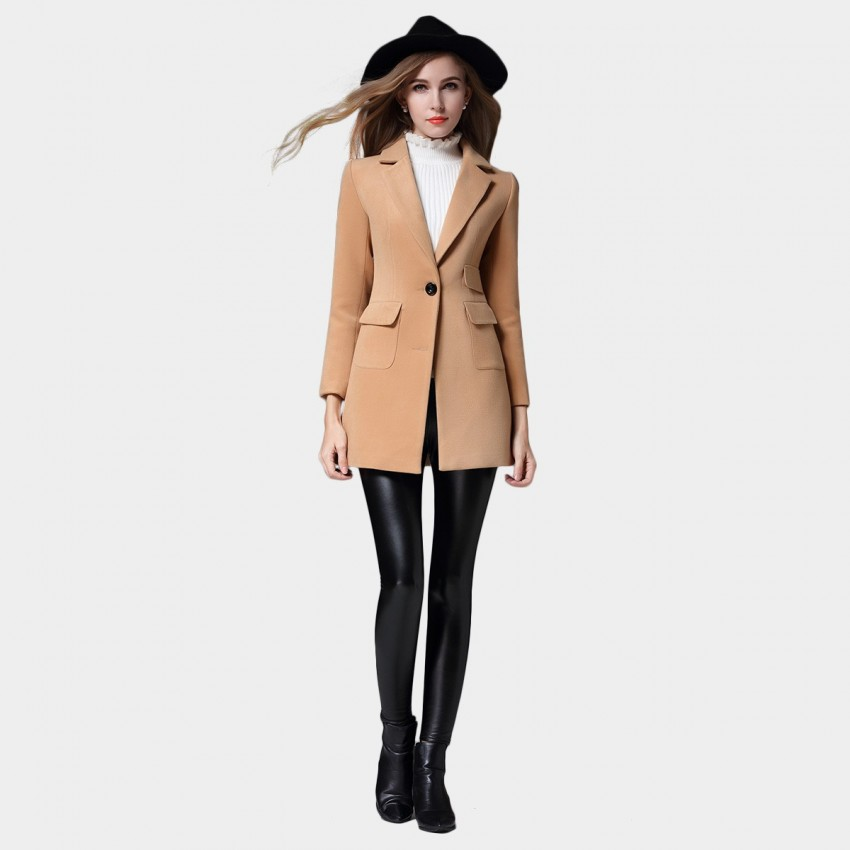 SSXR Preppy Split Back Hem Buttoned Sleeved Camel Coat (4341)