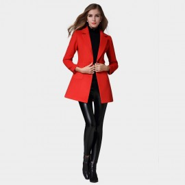 SSXR Preppy Split Back Hem Buttoned Sleeved Red Coat (4341)